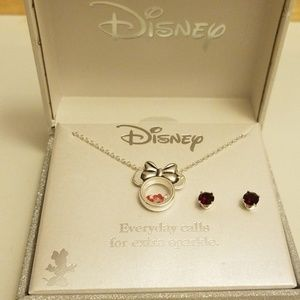 NIB Disney Minnie Mouse Necklace and Earrings Set